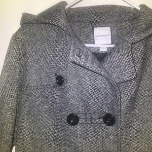 Croft and Barrow Tweed Hooded Pea Coat size M